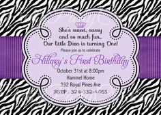diva birthday invitation ticket style - zebra print hot pink, Birthday invitations
