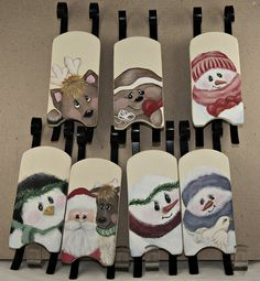 painted christmas sleds  | Sleds, Hand Painted Personalized Ornament, Holiday Decor, Each Sled ...