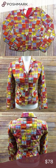 "J.Crew Factory Mini Patchwork Plaid Madras Blazer Brand: J.Crew Factory Style: 93564 Color: Red/Yellow/Blue Size: US Womens 0 Elastic Wasit: No Lined: No New with Tags: Yes Original Price: $150 Materials: 100% Cotton / Sleeve Lining 100% Polyester Features: Two front button pockets, Three button closure, 4 buttons on each sleeve cuff  For sizing reference, blazer fits mannequin like a glove with no clothes underneath.  Mannequin Specs: Height without Base: 28"" Shoulders: 15"" Chest: 34""…"