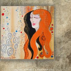 Art Nouveau portrait of a Ginger Lady Original acrylic painting on canvas 40x40cm by Ksavera orange wall art redhead woman girl by KsaveraART #TrendingEtsy