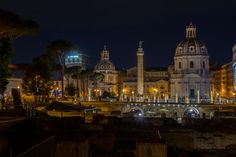 Basilica Ulpia at night by chbD Night Shot, City Architecture, Rome, Taj Mahal, Buildings, Shots, Pictures, Colors, Beautiful