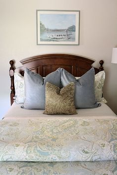 Love this room. I don't  like the squished pillows...but I love the color of them.