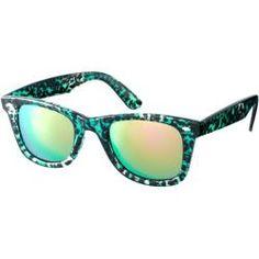 Gafas de sol estilo wayfarer de carey verde con lentes de espejo