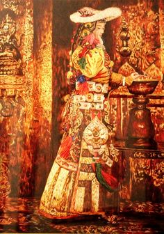 In the temple. Chinese silk embroidery art
