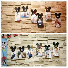 Mickey mouse konsepti 1 yaş dogum günü /ilk yılın  her ayına bir foto...