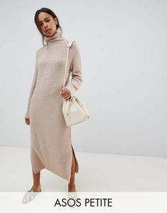 88a17464fc DESIGN Petite sweater dress in midi length with side splits