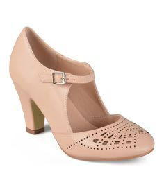 Look at this Journee Collection Blush Elsa Buckle Pump on #zulily today!