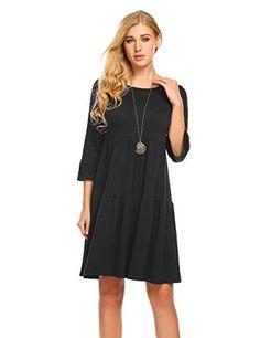Masakia Womens ALine Pleated 34 Sleeve Ruffle Sleeve Black Babydoll Dress *** Click for Special Deals #BabydollDress