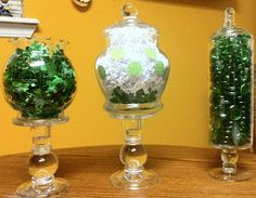 Super cheap apothecary jar fillers for St Patrick's Day
