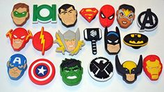 b7b38cd4493e Justice League Comic Book Super Hero 19pc Shoe Charms Cake Toppers