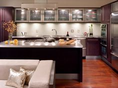 Get all the info you'll need on glass kitchen cabinet doors so you can create an airy and stylish kitchen design scheme. Kitchen Under Cabinet Lighting, Metal Kitchen Cabinets, Glass Kitchen Cabinet Doors, Diy Kitchen Island, Kitchen Furniture, Glass Cabinets, Upper Cabinets, Kitchen Lighting, Open Kitchen