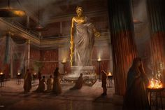 Interior of the temple of Asclepius(God of Healing), Epidaurus,Greece The gold and ivory cult statue of the god Art Sabin Boykinov Baron Samedi, Papa Legba, Anubis, Persephone, Sacred Art, Dionysus, Hades, Loki, Temple