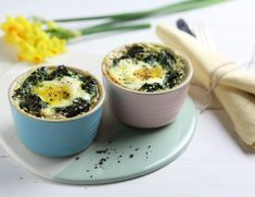 Spinach & Nutmeg Baked Eggs Recipe | Abel & Cole