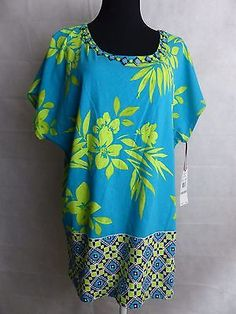 RUBY ROAD Cotton Multicolor Blue/Lime Blouse Shirt Short Cap Sleeves NWT Size 1X