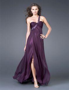 Draping One Shoulder Beaded Burgundy Evening Dresses