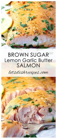 Brown Sugar Lemon Garlic Butter Salmon Recipe: This sweet and spicy salmon is coated in a buttery lemon, garlic and brown sugar glaze, with a hint of cayenne for added kick. #salmon #fish #seafood