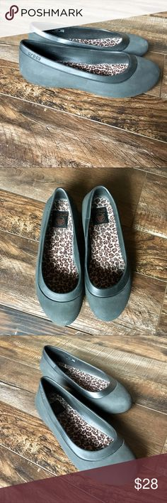 CROCS ballerina flats Charcoal gray with leopard pattern inside, women's sz 7, worn inside house a few times CROCS Shoes Flats & Loafers