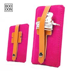 For iPhone 6 Plus Wool Felt Case Pink Color iPhone 6 Plus Sleeve With Leather Earphone Headphone Organizer Fashion iPhone 6 Plus Cover