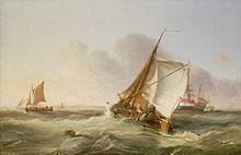 George Chambers  A Dutch Boeier in A Fresh Breeze 1831