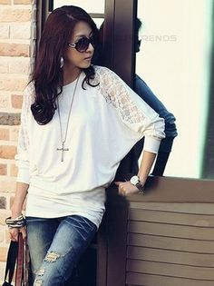 women's Round Collar Batwing Sleeve with Lace Hollow-out Elastic Shirt White - BuyTrends.com