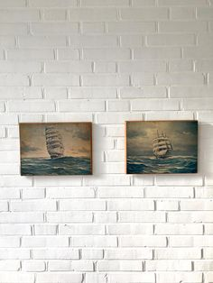 Mid Century Bild Segelschiffe Maritime Kunst Druck von Mid Century, Interior, Etsy, Wood Slab, House By The Sea, Sailing Ships, Vintage Images, Painting Art, Gifts