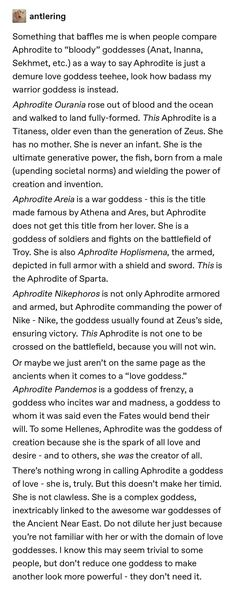 Well, the titaness Aphrodite was also like... she arose out of the sea-foam from Uranos' castrated ballsack, sooooo— not exactly blood & battle scars, but her first worshipers were the Katherans and Spartans, and she was absolutely a war goddess.