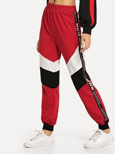 Sport Red Partchwork Colorblock Elastic Waist Women Sweatpants 2019 Spring Running Pants Exercise Workout Sportswear Pants Red X Spandex Pants, Type Of Pants, Running Pants, Jogger Sweatpants, Long Pants, Women's Leggings, Sportswear, Pants For Women, Trousers
