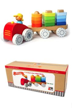 Kaper Kidz - Wooden Farm Tractor with Stacking Shapes Wooden Toy Shop, Wooden Playset, Tractor Pulling, Non Toxic Paint, Child Friendly, Toys Shop, Felt Hat, Different Shapes, Farmer