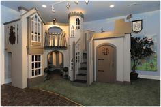 This is the incredible Kelsey Castle Playhouse. This village inspired playhouse takes up an entire room of it's own. It's the ultimate way to keep kids playing all day long!  Need a playhouse for commercial use? See our Specialty Designs page. Feeling inspired? Check out our custom designs page to see about creating your own amazing playhouse.  See below for more.  Want a Kelsey Castle of your own? Call us at 801-261-2261 or
