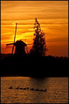 Mill at sunset, Kinderdijk, Netherlands