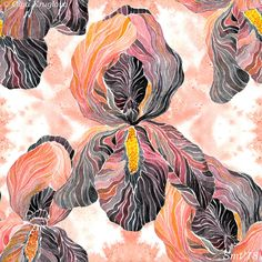 Watercolor seamless pattern with irises