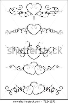 Vector set of calligraphic floral elements, dividers and .- Vektorset aus kalligraphischen Blumenelementen, Dividern und Stock-Vektorgrafik (Lizenzfrei) 383386027 Decorative elements with hearts for design - Doodle Tattoo, Doodle Drawings, Doodle Art, Mandala Tattoo, Lettering Styles, Hand Lettering, Hand Kunst, Fancy Writing, Art Quilling