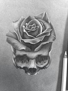 Only a drawing but going to be my first tattoo Nur eine Zeichnung, aber das wird mein erstes Tattoo Skull Rose Tattoos, Skull Hand Tattoo, Flower Tattoos, Body Art Tattoos, Sleeve Tattoos, Rib Tattoos, Foot Tattoos, Tattoo Design Drawings, Skull Tattoo Design
