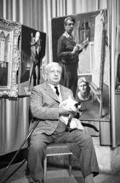 Painter Giorgio de Chirico in Venice, reluctantly holding Roth's cat Louis XIV (Sanford Roth, 1950s)