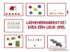 Digibordles. In deze digibordles vind je 7 verschillende spelletjes over lieveheersbeestjes. Deze spelletjes kunnen vanaf groep 1 gespeeld worden.  http://digibordonderbouw.nl/index.php/themas/dieren/lieveheersbeestjes
