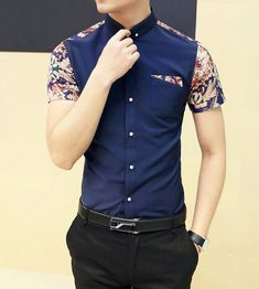 Fashion Style Turn-down Collar Floral Print Color Block Short Sleeves Cotton Shirt For Men Cotton Shirts For Men, Xl Fashion, Sammy Dress, Floral Prints, Short Sleeves, Mens Tops, Jackets, Color, Shopping