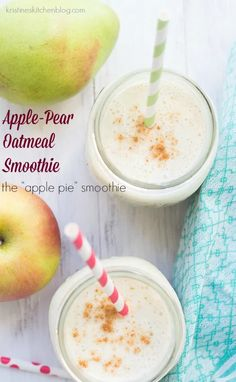 Apple Pie Smoothie, Blackberry Smoothie, Oatmeal Smoothies, Healthy Breakfast Smoothies, Good Smoothies, Fruit Smoothies, Smoothie Recipes, Banana Breakfast, Vitamix Recipes