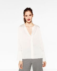 Image 1 of FLOWING SATEEN BLOUSE from Zara
