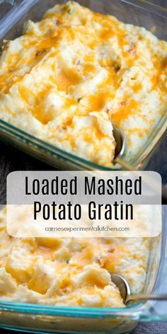 Loaded Mashed Potato Gratin made with bacon, sour cream, and cheddar cheese. #potatoes #sidedish #sidedishrecipes #potatorecipes #mashedpotatoes Loaded Mashed Potatoes, Mashed Potato Recipes, Cheese Potatoes, Baked Potatoes, Cheddar Mashed Potatoes Recipe, Mashed Potato Casserole, Loaded Potato, Potato Side Dishes, Vegetable Side Dishes
