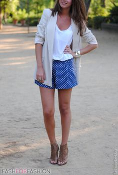 ♥ cardigan w/ white tee and patterned skirt, heels