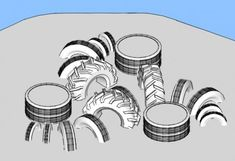 Triple Shrimp. This structure is great for kids who love jumping and playing in the dirt, but it does require a large quantity of tires. Design by Playground Ideas. Create a free user account at www.playgroundideas.org to view full element description and step-by-step DIY instructions.