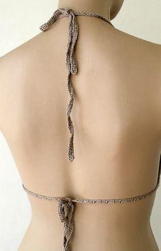 EXPRESS CARGO Crochet Light Brown Bikini Bustier by formalhouse