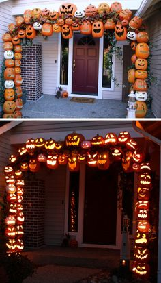 DIY Illuminated Pumpkin Arch Tutorial from Don Morin.Foam pumpkins were used to create this as well as PVC pipe and rebar. GIF by me using one of my favorite programs: makeagif.com. For more pumpkin DIYs go here: halloweencrafts.tumblr.com/tagged/pumpkins