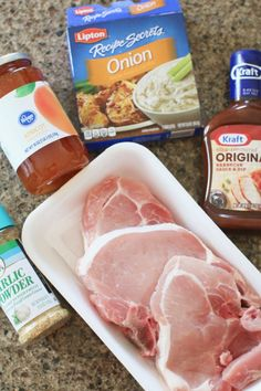 CROCK POT BBQ PORK CHOPS bone-in pork chops, barbecue sauce, apricot preserves onion soup mix, garlic powder Barbeque Pork Chops, Oven Pork Chops, Sauce Barbecue, Boneless Pork Chops, Pork Ribs, Easy Pork Chop Recipes, Pork Recipes, Crockpot Recipes, Recipies