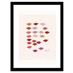Stamped Lips Framed Print