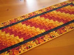 """Table Runner Autumn Leaves Quilted Handmade Table Decor 14"""" x 44"""" Patchwork Mountain $44"""
