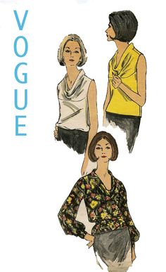 Interesting cowl neck on this top, Vogue 6425 Vogue Sewing Patterns, Vintage Sewing Patterns, Sewing Ideas, Vintage Ladies, Retro Vintage, Vintage Items, Vintage Clothing, Vintage Fashion, Sewing Shirts