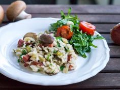 Mushroom risotto with diced salami