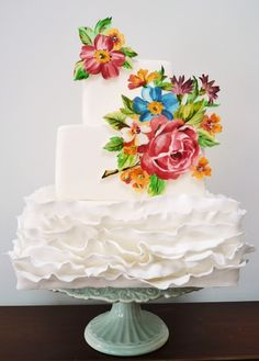 Ruffles and gorgeous painted flowers! ~amelieshouse.blogspot.com