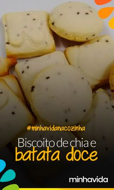 Receita fit: biscoito de batata doce e chia - biscoitos - Dairy Free Diet, Dairy Free Recipes, Baby Food Recipes, Low Carb Recipes, Sweet Recipes, Cooking Recipes, Dairy Free Overnight Oats, Food Humor, Everyday Food